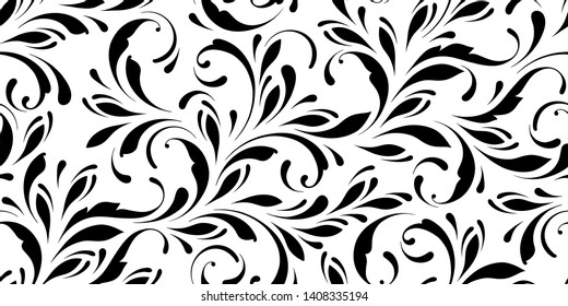 Floral seamless pattern. Swirls and flowers background for wrapping, fabric, paper and wallpaper. Decorative ornament for fashion print.