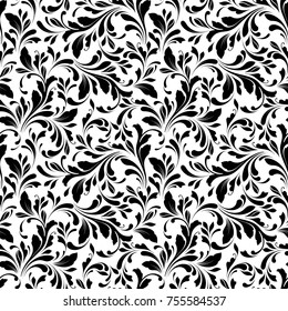 Floral seamless pattern. Swirls and flowers background for wrapping, fabric, paper and wallpaper.