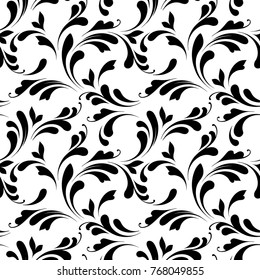 Floral seamless pattern. Swirls ornamental background for wrapping, fabric, paper and wallpaper.