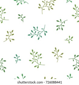 Floral Seamless pattern texture with green berries branches on white background. Vector illustration with sprigs. Perfect for printing on fabric or paper. Barberry twig.