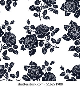 Floral seamless pattern. Floral seamless texture with roses. Vector illustration