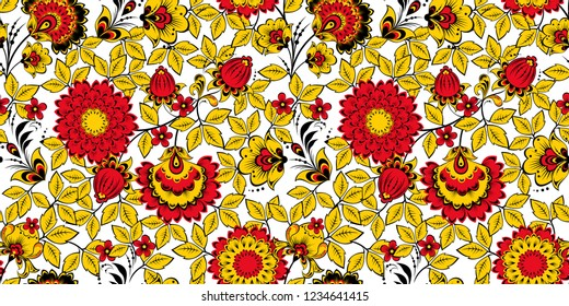 Floral seamless pattern in traditional Russian Khokhloma painting style, vector illustration.