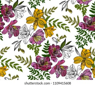 Floral seamless pattern with tropical flowers and leaves. Botanical illustration  hand drawn. Textile print, fabric swatch, wrapping paper.
