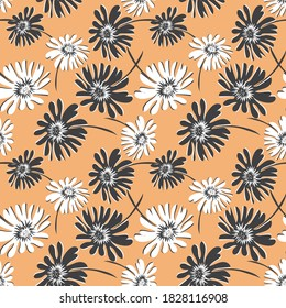 Floral seamless pattern. Vector abstract texture with simple big flower silhouettes. Elegant background with hand drawn elements. Orange, black and white color. Repeat design for decor, textile, print