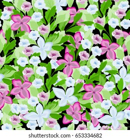 Floral seamless pattern in vector. Flowery texture for fabric, wrapping, wallpaper and paper.