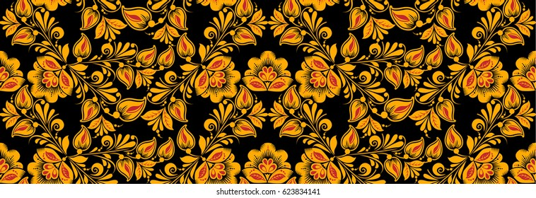 Floral seamless pattern vector, hohloma drawing style in classic black, red and gold colors. Khokhloma, Russian national ornament