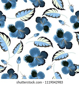 Floral seamless pattern. Vector illustration. Spring paper with abstract cute hibiscus flowers in gray, white and blue colors.