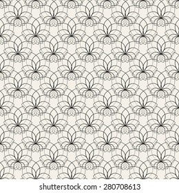 Floral seamless pattern. Vector illustration for beautiful design. Endless texture for textile. Black and white colors. Can be used for wallpaper, pattern fill, web page background, surface.