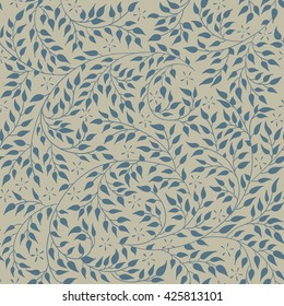 Floral seamless pattern - vector illustration of detailed blue ornament of plant twigs and curled branches on olive background