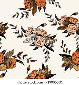 Floral seamless pattern. Vector illustration of orange flowers on light yellow background
