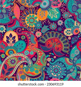 Floral seamless pattern. Vector indian decorative wallpaper. Batik indonesia. Colorful pattern with paisley and stylized flowers. Design for wrapping paper, web, cover, fabric, textile