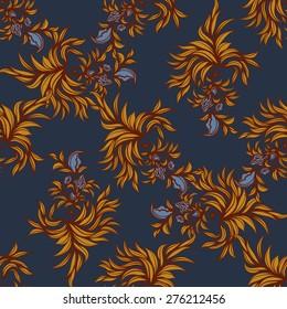 Floral seamless pattern. Vector line art.