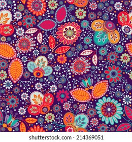 Floral seamless pattern. Vector nature  decorative wallpaper. Colorful pattern with stylized flowers. Design for wrapping paper, web, cover, fabric, textile, curtains