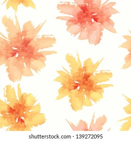 Floral seamless pattern. Vector watercolor flowers. Watercolor spots.