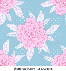 Floral seamless pattern, vintage vector flowers, hand drawn illustration, template for textile, wallpaper, wrapping paper.
