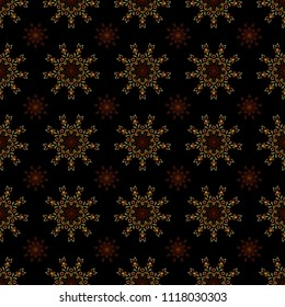 Floral seamless pattern. Wallpaper baroque, seamless vector background, yellow and brown on black background.