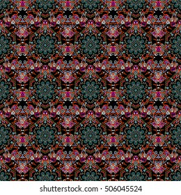 Floral seamless pattern. Wallpaper baroque, seamless vector background, red on black background.