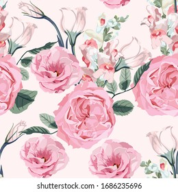 Floral seamless pattern with watercolor style pink roses and many kind blooming garden flowers. Background with bouquets of hand-drawn  flowers with leaves.
