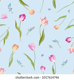 Floral Seamless Pattern with Watercolor Tulips. Spring Background with Blossom Flowers for Fabric, Wallpaper, Posters, Banners. Vector illustration