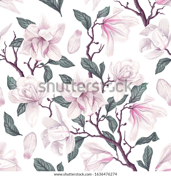 Floral seamless pattern with white Anise magnolia flowers, leaves and petals on white background. Pastel vintage theme with realistic, vector, spring flowers for fabric, prints, greeting cards.