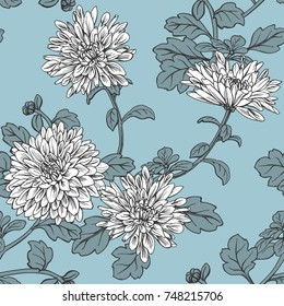 Floral seamless pattern with white chrysanthemum. Hand painted illustration.