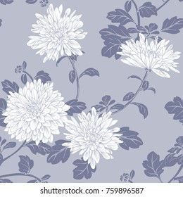 Floral seamless pattern with white chrysanthemum. Hand painted watercolor