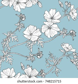 Floral seamless pattern with white flowers. Hand painted illustration.