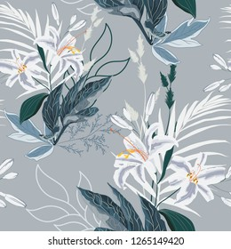 Floral Seamless Pattern with white lilies flowers and exotic leaves. Spring blooming for fabric, prints, wedding decoration, invitation, wallpapers. Vintage grey background.