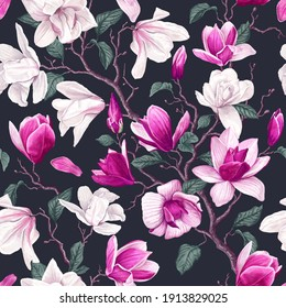 Floral seamless pattern with white and pink magnolia flowers, leaves and petals on dark background. Pastel vintage theme with realistic, vector, spring flowers for fabric, prints, greeting cards.