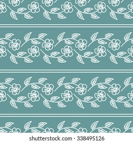Floral seamless pattern with white weaving flowers and stripes on cyan background