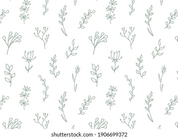 Floral seamless pattern with wild flowers, herbs, branchs. Vector hand drawn garden print. Botany repeat background in doodle style. Vintage outline design.
