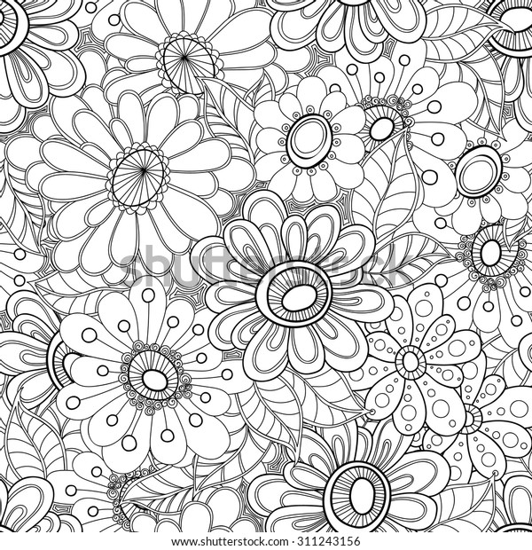 Floral Seamless Pattern Zentangle Doodle Background Stock