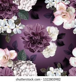 Floral seamless pattern.Hydrangea ,chrysanthemum,rododendron,begonia and apocynaceae flower vector