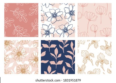 Floral seamless patterns set with beautiful flowers, endless texture, ink sketch art. Vector illustration for wedding invitations, wallpaper, textile, wrapping paper