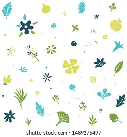 floral seamless tileable pattern with stylized plants and flowers