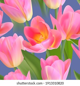 Floral Seamless tulip with leaves pattern on a beautiful background. High realism, vector, spring flowers for fabric, prints, decorations, invitation cards.