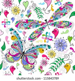 Floral seamless valentine pattern with colorful butterfly and dragonfly and hearts (vector)