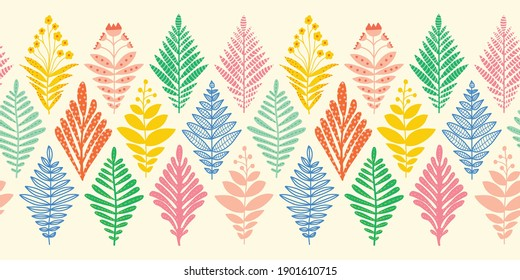 Floral seamless vector border. Repeating pattern abstract plants leaves flowers in geometric rhombus ikat shapes. Decorative modern decor for fabric trim, wallpaper decals, footer, cards, banners.