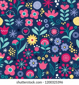 Floral seamless vector folk art pattern - hand drawn vintage Scandinavian style textile design with pink and yellow flowers on navy blue. Retro repetitive decoration, wedding invitation