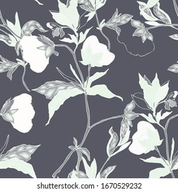 Floral seamless vector pattern. Cotton flowers, leaves, stems and petals on a grey background. Hand-drawn illustration.