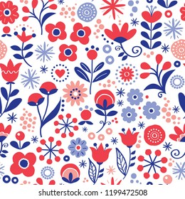 Floral seamless vector pattern - hand drawn vintage Scandinavian style textile design with red and navy blue flowers on white. Retro repetitive decoration, wedding invitation or greeting card