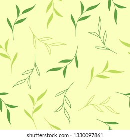 Floral seamless vector pattern. Light green background with tea leaves