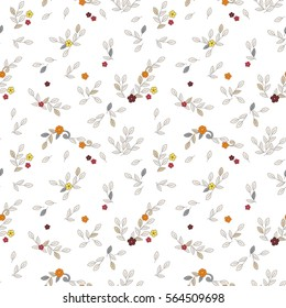 Floral seamless vector trendy pattern. Simple small red, yellow, orange flowers, grey and light beige curls and leaves with dark contour on white background.