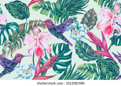 Floral seamless vector tropical pattern background with exotic flowers, palm leaves, jungle leaf, hummingbird, orchid, bird of paradise flower, colibri. Botanical vintage wallpaper illustration