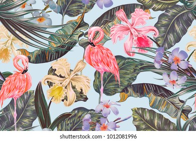 Floral seamless vector tropical pattern background with exotic flowers, palm leaves, jungle leaf, orchid flower, pink flamingos. Botanical vintage wallpaper illustration
