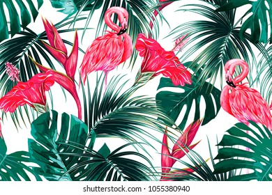 Floral seamless vector tropical pattern background with exotic flowers, palm leaves, jungle leaf, hibiscus, bird of paradise flower, pink flamingos. Botanical wallpaper, illustration in Hawaiian style