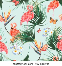 Floral seamless vector tropical pattern background with exotic flowers, pink flamingos, palm leaves, jungle leaf, bird of paradise flower, butterflies. Botanical wallpaper, vintage illustration