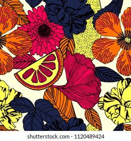 Floral seamless vector tropical pattern background with exotic flowers, palm leaves, jungle leaf. Botanical vintage wallpaper illustration