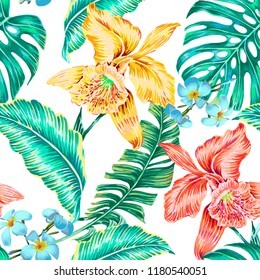 Floral seamless vector tropical pattern background with exotic flowers, jungle leaves, monstera, banana leaf, orchid flower. Botanical wallpaper illustration in Hawaiian style