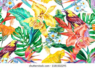 Floral seamless vector tropical pattern background with birds of paradise, exotic flowers, jungle leaves, monstera leaf, hibiscus, orchid flower. Botanical colorful garden illustration wallpaper
